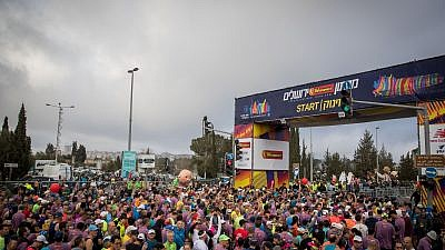 Thousands of runners take part in the 2018 Jerusalem Marathon on March 9, 2018. Credit: Yonatan Sindel/Flash90.