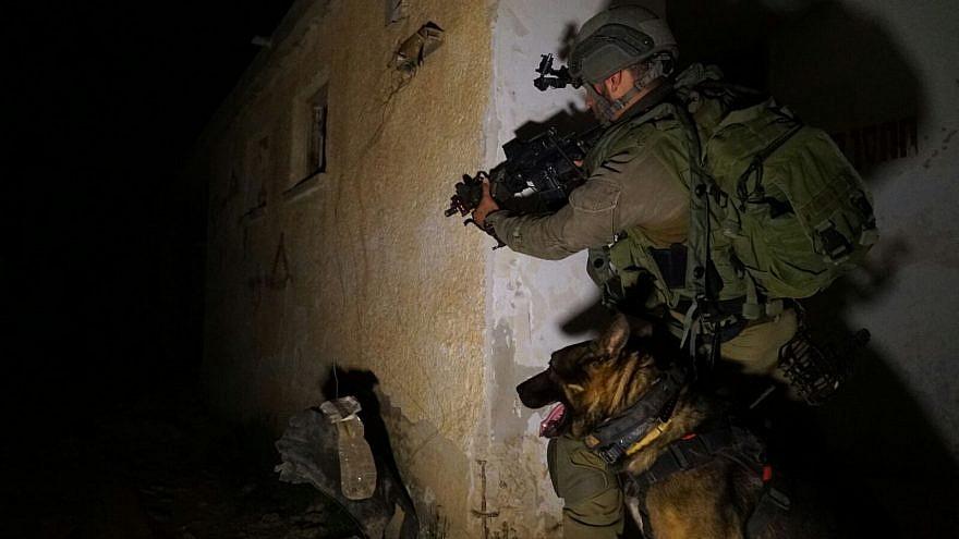A member of the Givati infantry brigade trains in a simulated urban warfare scenario with his canine companion. Credit: IDF Spokesperson Unit.