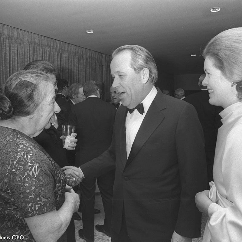 "Israeli PM Golda Meir with Senator Henry ""Scoop"" Jackson during a reception at Amb. Yitzhak Rabin's residence in Washington, DC. Photo by Moshe Milner/GPO"