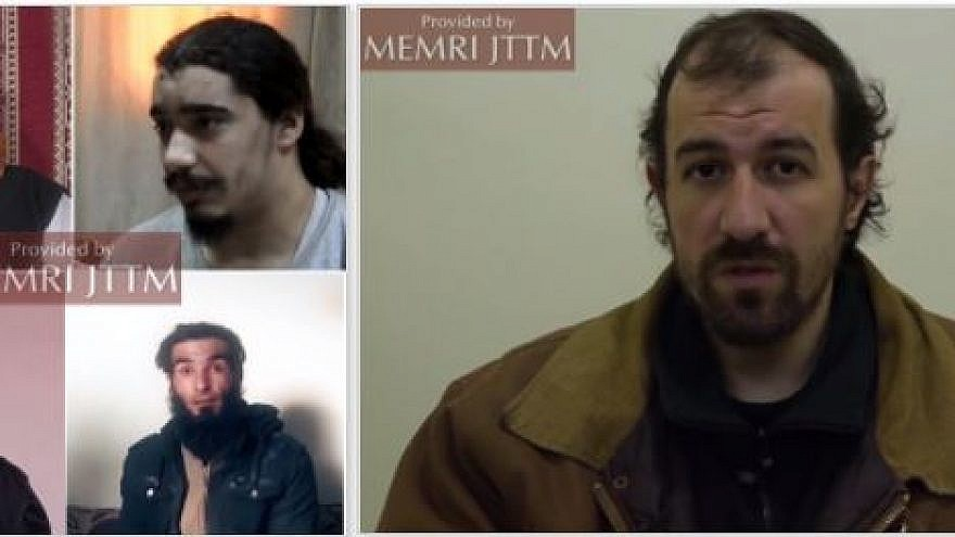 ISIS deserters: ordinary fighters (left) and Thomas Barnouin. (Credit: MEMRI)