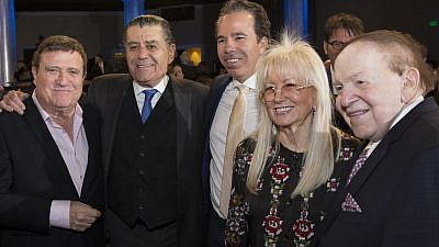From left to right:  Israeli entertainer Yehoram Gaon, philanthropist Haim Saban, Shawn Evenhaim, and Dr. Miriam and Sheldon Adelson.  Credit: Idan Ozeri-Tal.