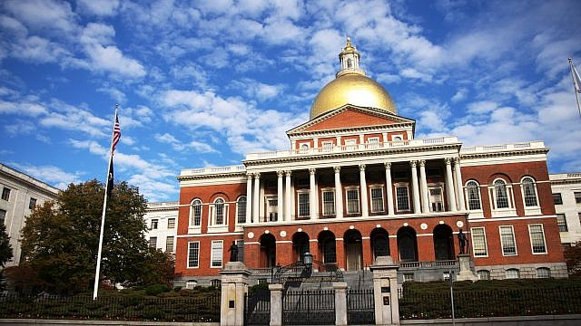 The Massachusetts State House on Beacon Hill in Boston where legislative committee froze a bill targeting the anti-Israel BDS movement in February. Credit: Wikimedia Commons