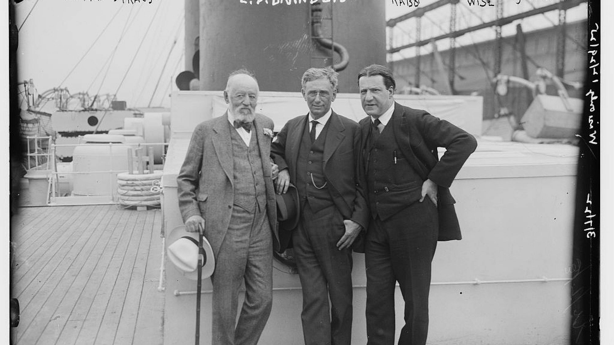 Nathan Straus (left), Louis Dembitz Brandeis (center) and Rabbi Stephen Samuel Wise on March 7, 1922.