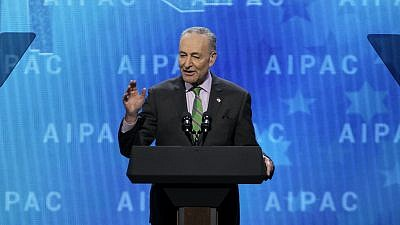 Senate Minority Leader Sen. Chuck Schumer (D-N.Y.) speaking at the 2018 AIPAC Policy Conference. Credit: AIPAC.