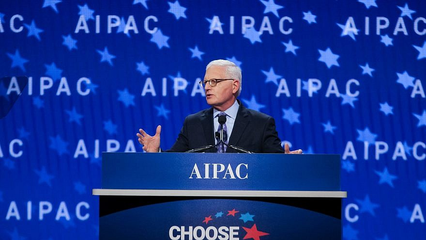 AIPAC CEO Howard Kohr addressing the 2018 AIPAC policy conference on March 4.  Credit: AIPAC.