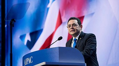 Guatemala's President Jimmy Morales at the 2018 AIPAC Conference. Credit: AIPAC.