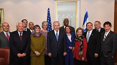Israeli Prime Minister Benjamin Netanyahu (center) with a Democratic congressional delegation led by Minority Leader Nancy Pelosi, to his right, along with U.S. Ambassador to the United Nations David Friedman (second from left). Credit: Kobi Gideon/GPO.