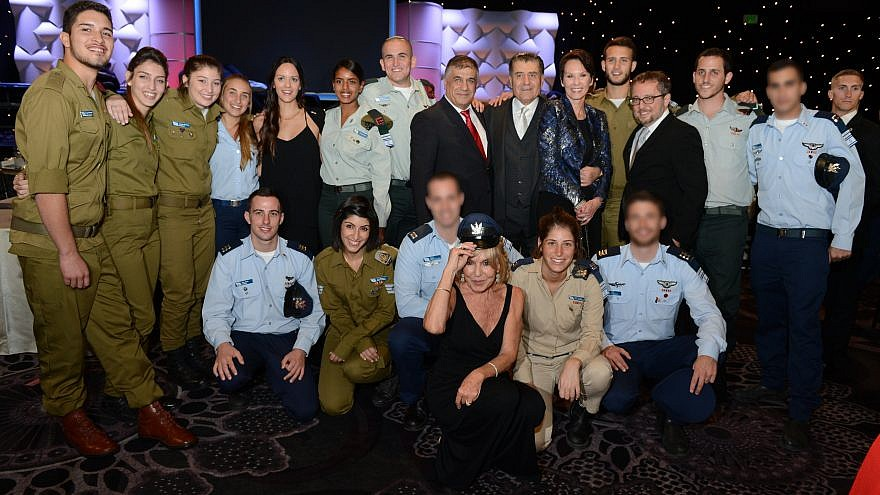Haim and Cheryl Saban (standing next to each other, center right) at a Friends of the IDF annual dinner. Photo by Peter Halmagyi.