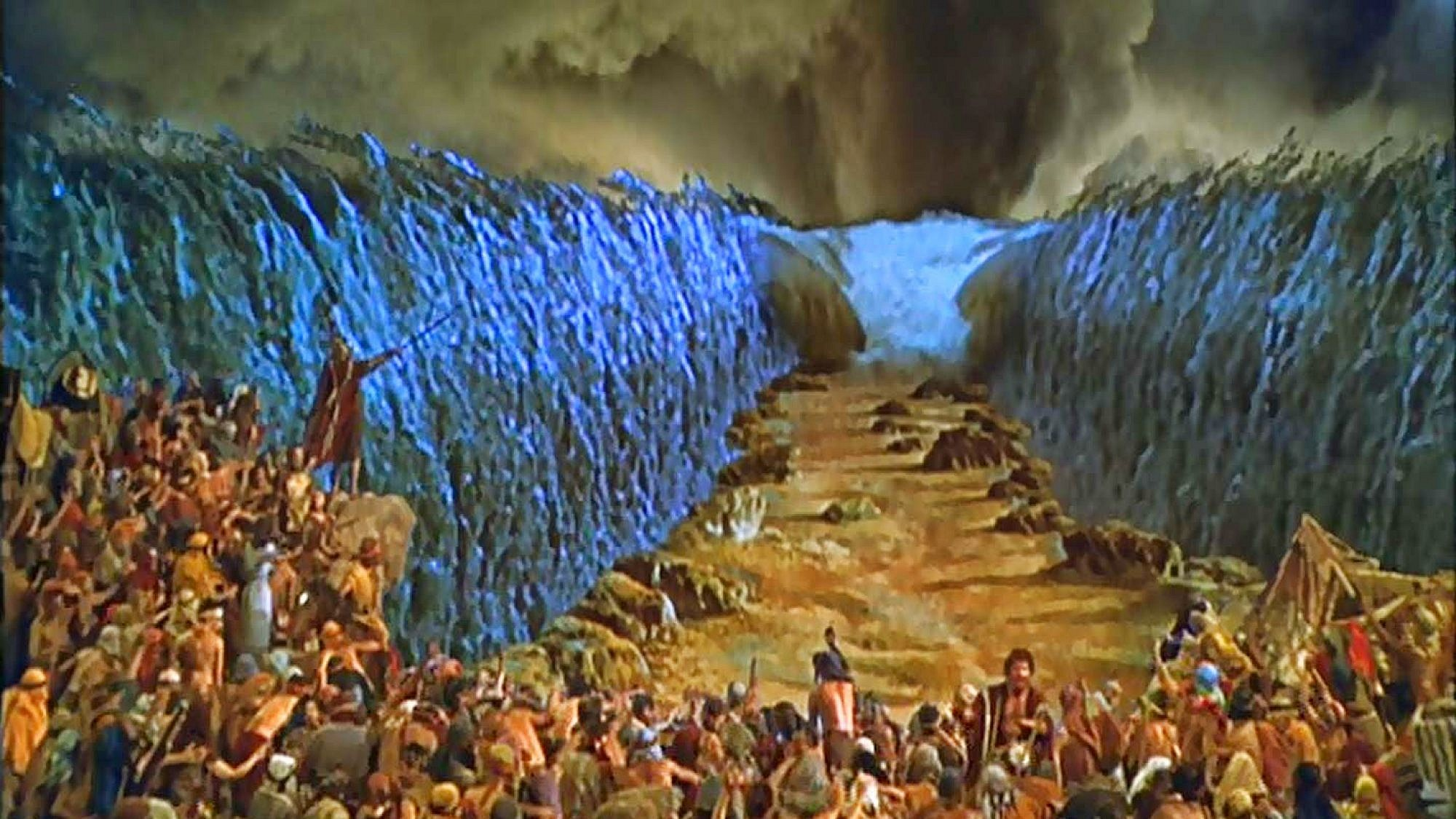 "A fictional depiction of Moses parting the Red Sea from the movie ""The Ten Commandments."" Credit: YouTube screenshot."