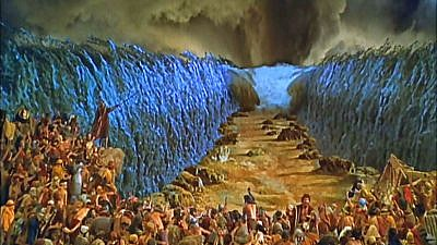 """A fictional depiction of Moses parting the Red Sea from the movie """"The Ten Commandments."""" Credit: YouTube screenshot."""