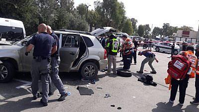 The scene of the car-ramming terrorist attack in the northern Israeli city of Akko. Credit: United Hatzalah.