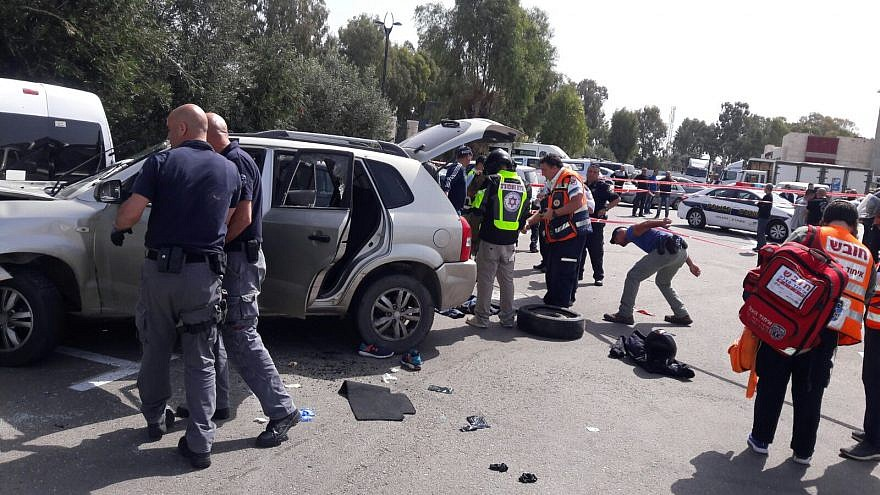 The scene of the car-ramming terrorist attack in the northern Israeli city of Akko. Credit: United Hatzalah.