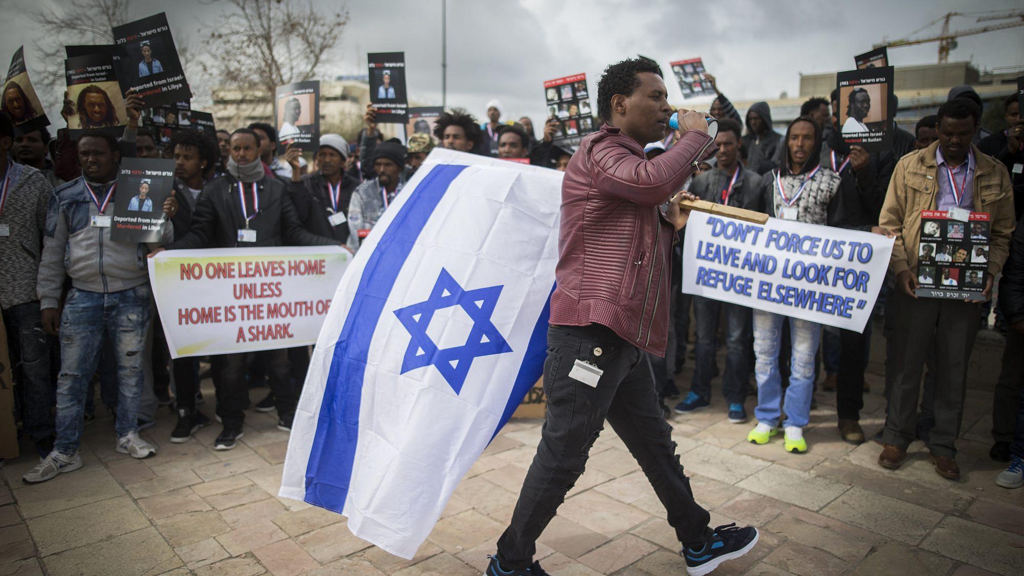 African migrants gather during a protest outside the Supreme Court in Jerusalem on Jan. 26, 2017. Credit: Yonatan Sindel/Flash90