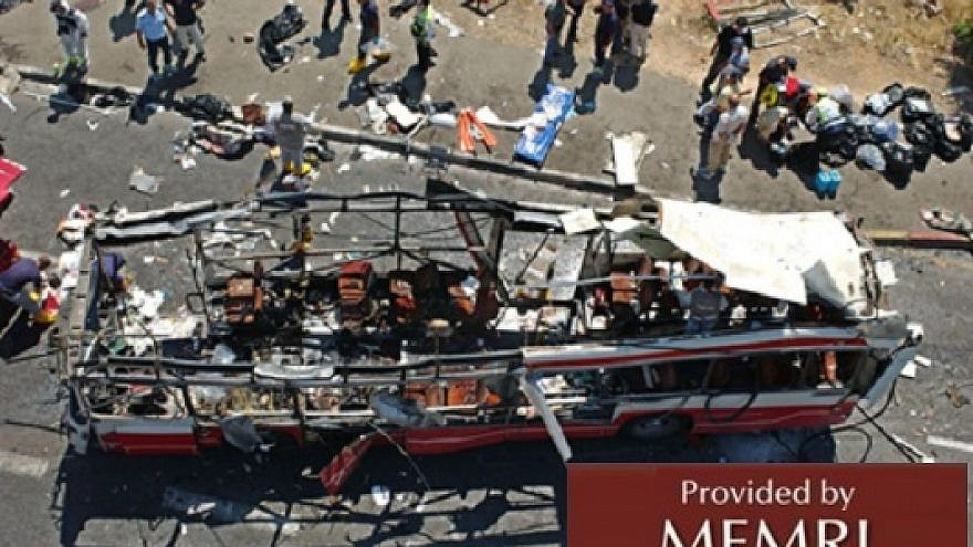 One of the buses in the aftermath of an attack on Feb. 25, 2018. Credit: MEMRI