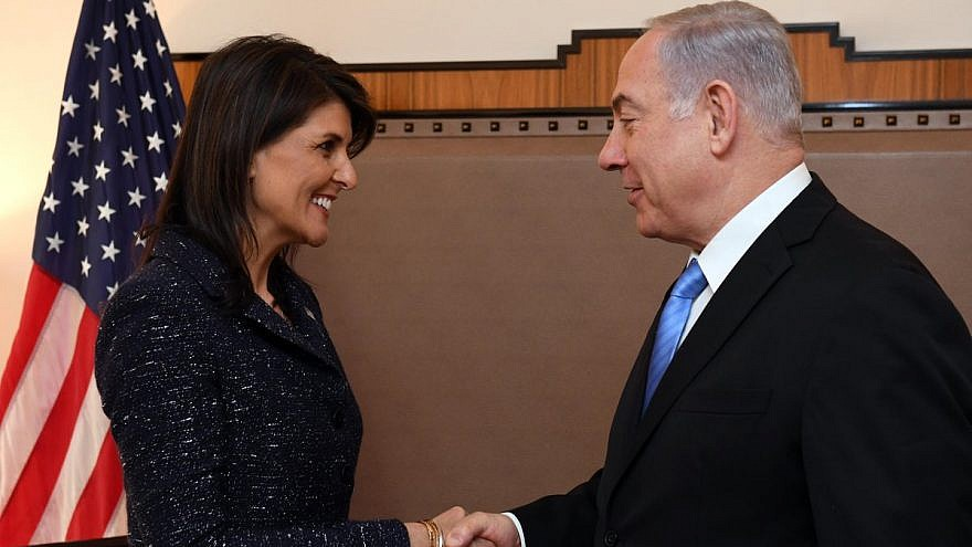 U.S. Ambassador to the United Nations Nkki Haley warmly greets Israeli Prime Minister Benjamin Netanyahu at the United Nations. Credit: Haim Zach/GPO.