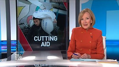 """A screenshot of a PBS segment that aired on Feb. 19, 2018 : """"With the Trump administration threatening cuts for Palestinian support, aid groups wonder what comes next."""" Credit: Screenshot."""