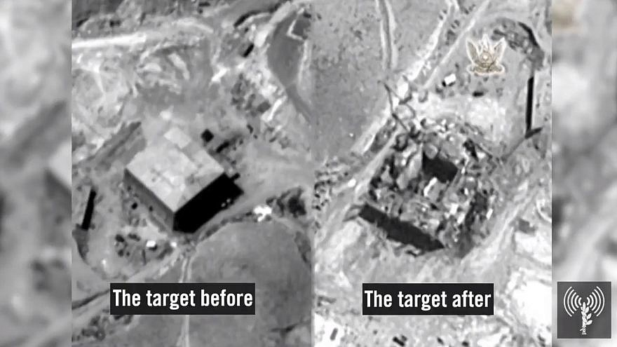 A view of the of the Syrian nuclear reactor before and after it was hit by Israel. Credit: IDF Spokesman Unit screenshot.