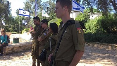 Israeli soldiers visit a 1948 battle site in Malkia, near the Lebanese border. Credit: Yaakov Lappin.