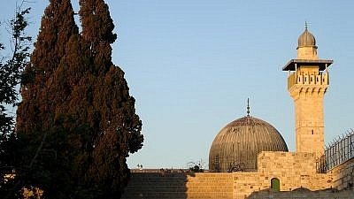 The Al-Aqsa Mosque in the Temple Mount compound, seen from the Western Wall Plaza. Credit: Wikimedia Commons/ Mark A. Wilson (Department of Geology, The College of Wooster)