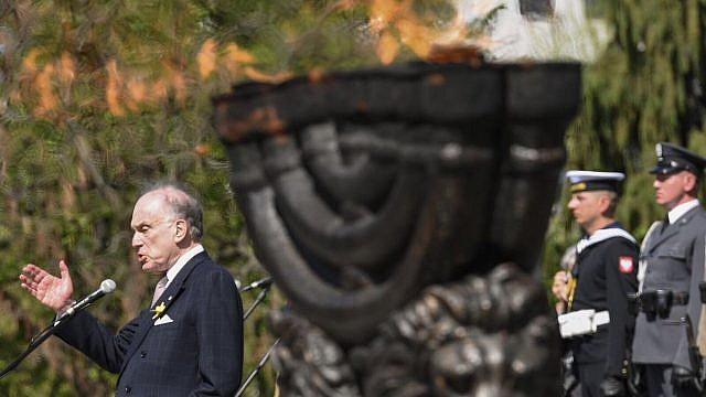World Jewish Congress President Ronald S. Lauder spoke at Poland's official ceremony commemorating the 75th anniversary of the Warsaw Ghetto Uprising. Credit: World Jewish Congress.