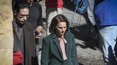 "Hollywood actress Natalie Portman and Israeli actor Gilad Kahana seen in Jerusalem's Nachlaot neighborhood, filming a movie based on Israeli author Amos Oz's book, ""A Tale of Love and Darkness,"" February 2014. Photo by Hadas Parush/Flash 90."