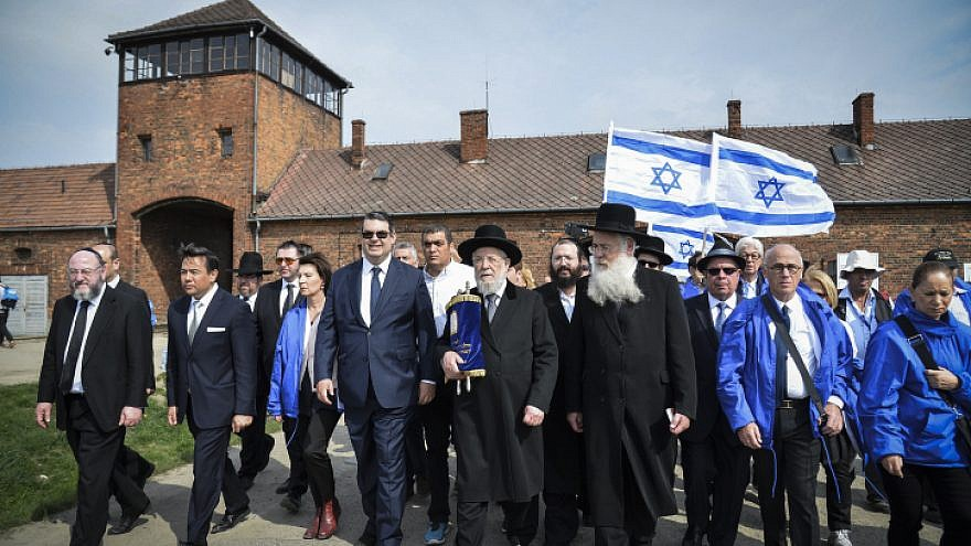 "File photo: Jews from all over the world participate in the ""March of the Living,"" seen at the Auschwitz-Birkenau camp site in Poland, as Israel marks annual Holocaust Memorial Day on April 16, 2015. Photo by Yossi Zeliger/Flash90."