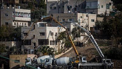 Israeli security forces have wrecked or sealed with cement homes of known terrorists, such as the house of Ala Abu Jamal in the eastern Jerusalem neighborhood of Jabel Mukabar on Jan. 4, 2015, as part of retribution for terror attacks. Photo by Hadas Parush/Flash90