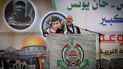 Hamas leader Ismail Haniyeh speaks during a meeting in Khan Yunis in the southern Gaza Strip on Jan. 7, 2016. Photo by Abed Rahim Khatib/Flash90