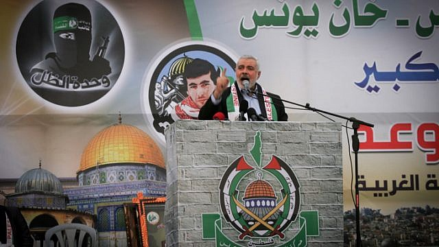 Hamas leader Ismail Haniyeh speaks during a meeting in Khan Yunis in southern Gaza on Jan. 7, 2016. Photo by Abed Rahim Khatib/Flash90.