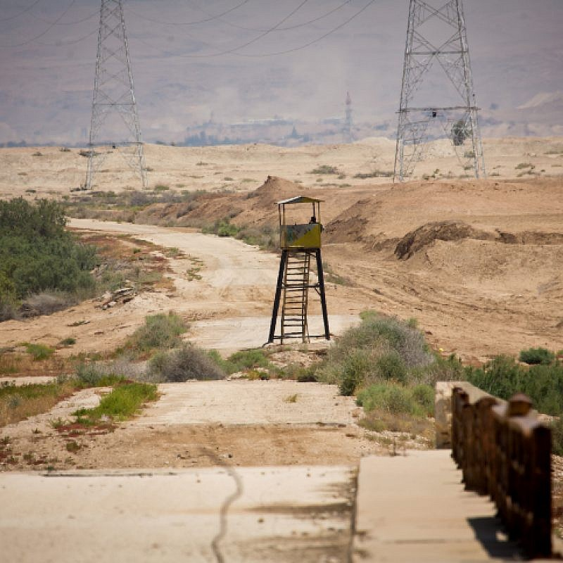 An abandoned watchtower at the Israel-Jordanian border, as seen from the Israeli side. May 6, 2015. Photo by Moshe Shai/Flash90.