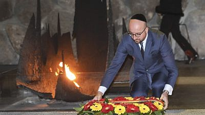 Belgian Prime Minister Charles Michel visits the Yad Vashem Holocaust Memorial Museum in Jerusalem on Feb. 7, 2017. Photo by Isaac Harari/Flash90