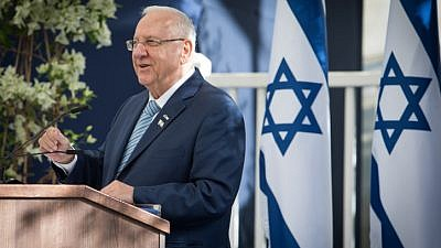 Israeli President Reuven Rivlin speaks at a welcome ceremony for diplomats in Israel for Israel's 69th Independence Day, at the President's residence in Jerusalem, May 2, 2017. Photo by Yonatan Sindel/Flash90