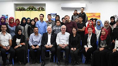 Israeli President Reuven Rivlin and Minister of Agriculture and development of Bedouin villages in the Negev, Uri Ariel, visit Beduin schools, on November 28, 2017. Credit: Mark Neyman/GPO