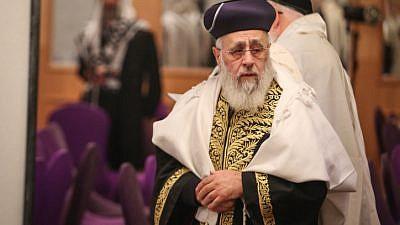 Sephardic Chief Rabbi Yitzhak Yosef attends a Shacharit prayer in the northern Israeli city of Tzfat on Feb. 6, 2018. Photo by David Cohen/Flash90