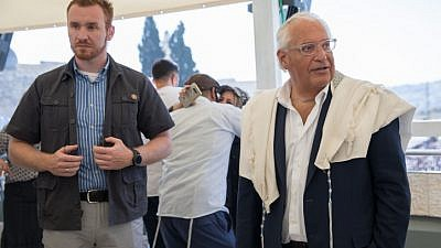 U.S. Ambassador to Israel David Friedman visits the Western Wall in Jerusalem for the priestly blessing for Kohenim during the intermediate days of the Jewish holiday of Passover. He is encouraging an official mezuzah-hanging ceremony for May 14, when the new U.S. Embassy in Jerusalem is scheduled to be dedicated. Photo by Noam Revkin Fenton/Flash90