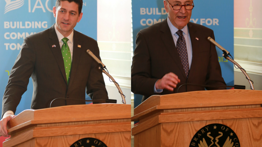 Speaker of the House Paul Ryan (R-Wisc.) and Senate Minority Leader Chuck Schumer (D-N.Y.) separately address the Israeli-American Council during a luncheon on Capitol Hill celebrating Israel's 70th anniversary. Credit: IAC