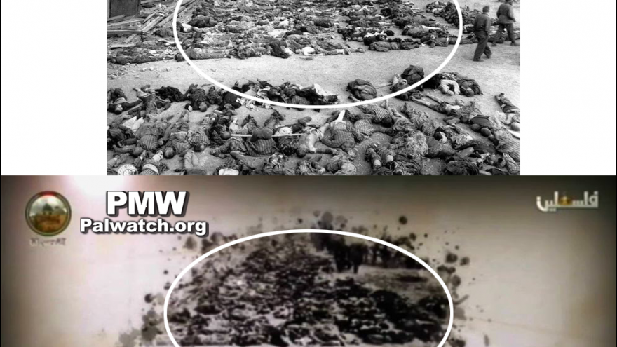 The Palestinian Authority edited and misrepresented this Holocaust photo of Jewish concentration-camp victims as Arab victims of Deir Yassin. (P.A. TV April 9, 2018, PMW)