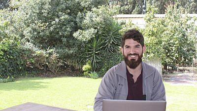 "Lazer Mangel, 24, at sFBI, a ""startup's startup,"" in Herzliya, Israel. Credit: Marshall Weiss"