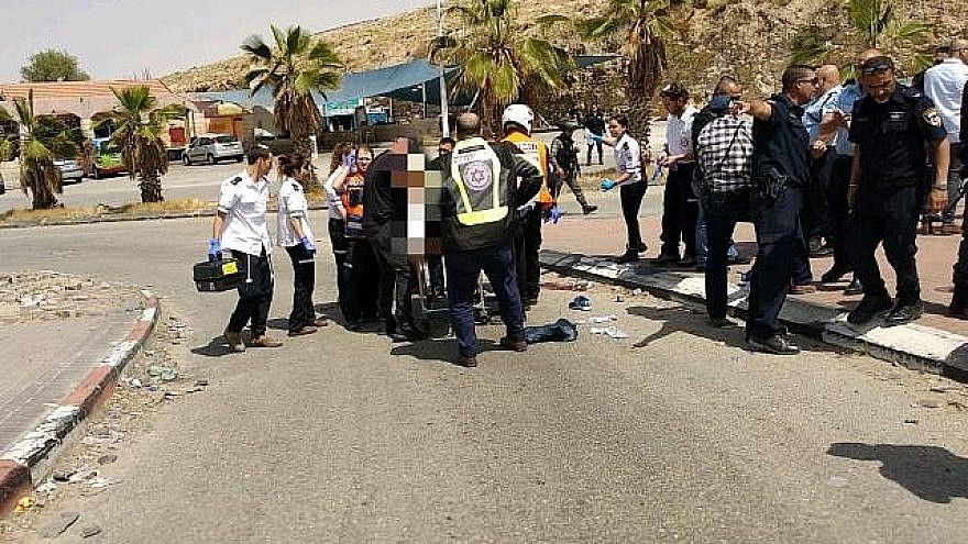 Magen David Adom first responders attend to a Palestinian shot in the head after charging an Israeli with a screwdriver in the Mishor Adumim industrial zone on April 8, 2018. Photo by Magen David Adom.
