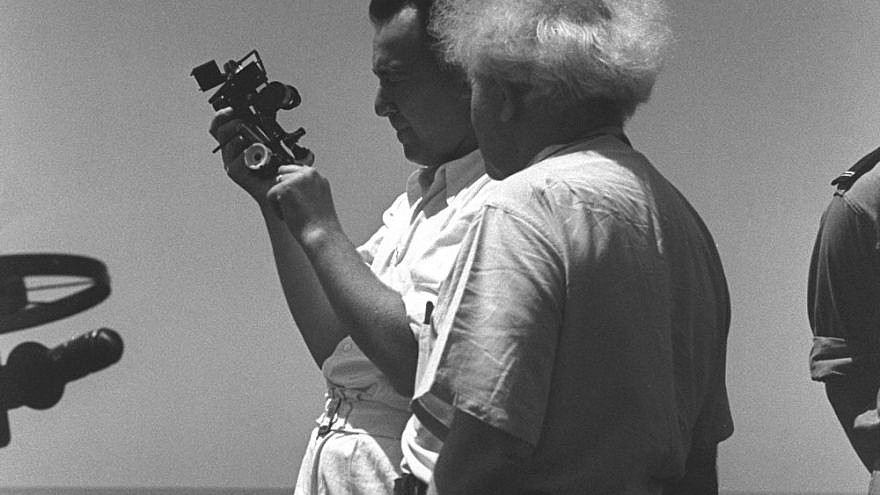U.S. Naval Officer Paul Shulman explains to Israeli Prime Minister David Ben-Gurion how to navigate using a Sextant. Shulman, who had combat experience in the Pacific, served as the commander of the Israeli Navy from 1948 through 1949. Photo: GPO