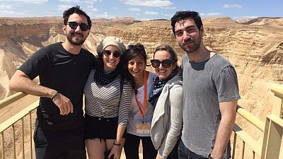 Racheli (center) and American participants at Masada. Credit: Eliana Rudee