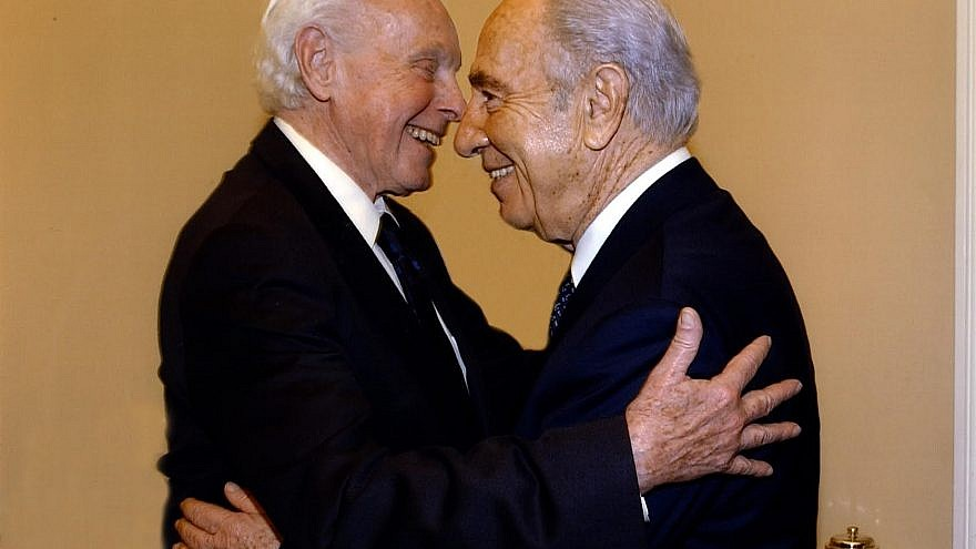 California Rep. Tom Lantos (left) with Israeli President Shimon Peres. Photo courtesy of Lantos Foundation for Human Rights and Justice.