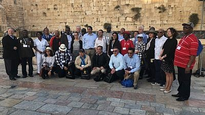 A delegation of ambassadors to the United Nations at the Kotel (Western Wall), together with Ambassador Danny Danon, Israel's Permanent Representatives to the United Nations, and Richard D. Heideman, president of the American Zionist Movement. Credit: American Zionist Movement.