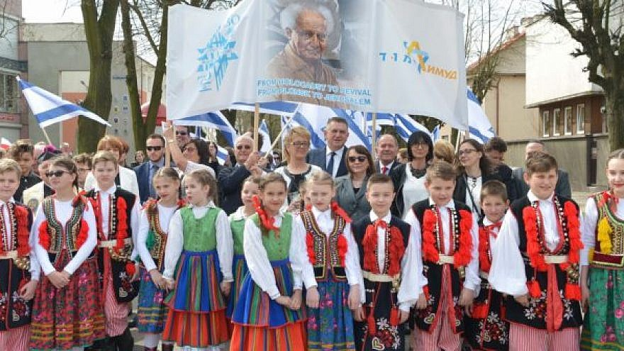 Several hundred residents of Plonsk, a small Polish town that was the birthplace of David Ben-Gurion, Israel's first prime minister, took part in a procession to celebrate the 70th year of Israel's independence. Credit: Yossi Zeiliger