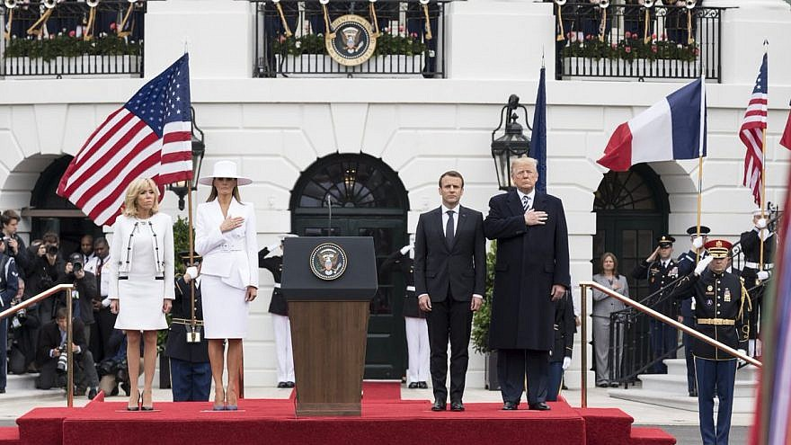 U.S. President Donald Trump and French President Emmanuel Macron at the White House, along with First Lady Melania Trump and French First Lady Brigitte Macron. Credit: White House.