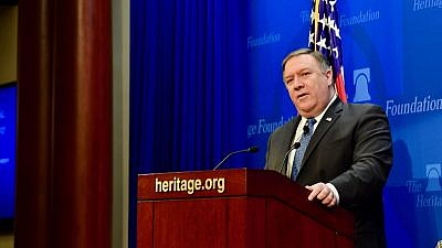 U.S. Secretary of State Mike Pompeo outlines the Trump administration's policies towards Iran at the Heritage Foundation on May 21, 2018. Credit: State Department.