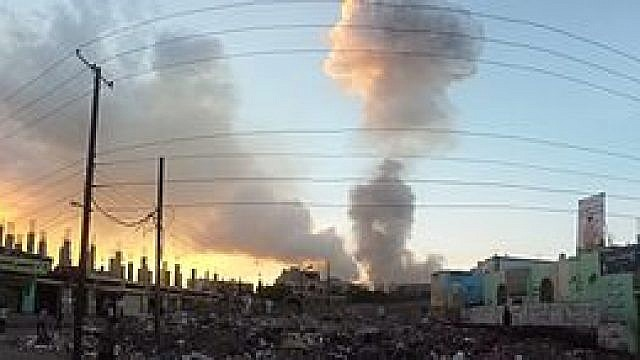 Saudi Arabian-led intervention in Yemen via an airstrike in the capital of Sana'a. (Wikipedia)