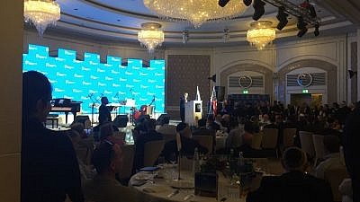 Orthodox Union Executive Vice President Allen Fagin speaking at a OU reception honoring the relocation of the U.S. embassy from Tel Aviv to Jerusalem on May 14, 2018. Credit: Twitter.
