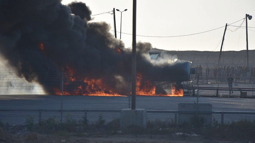Palestinians set fire to the Kerem Shalom Crossing on May 14. Credit: IDF Spokespersons Unit.