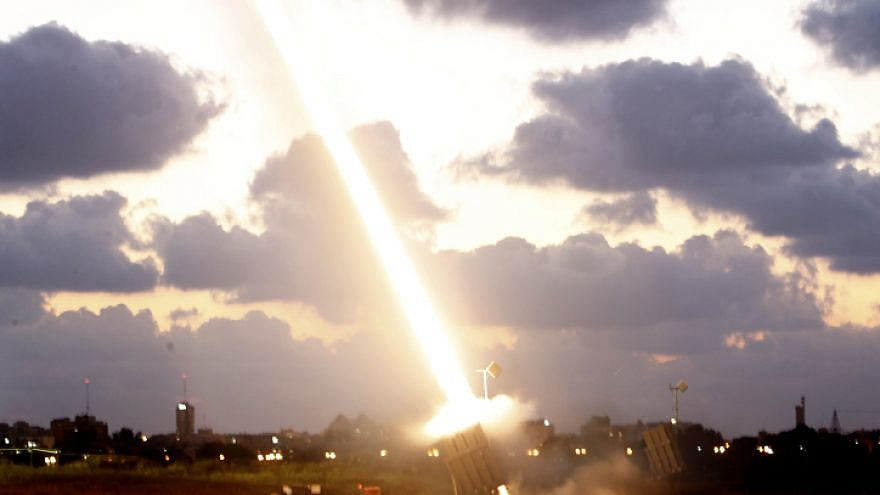 An Iron Dome missile-defense battery set up near the southern Israeli town of Ashdod fires an interceptor missile on July 16, 2014. Photo by Miriam Alster/Flash90.